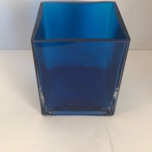 ⭐️5/$25 Square Blue Glass Vase
